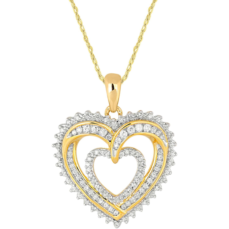 1 4 Carat T.W. Diamond 10kt Yellow Gold Shadow Heart Pendant by INTERJEWEL