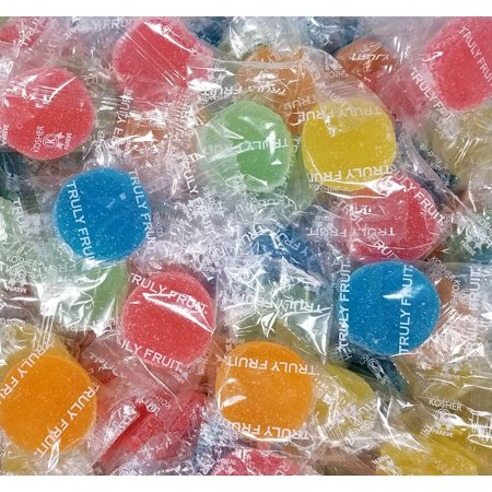 Truly Fruit Soft Jelly Candy Discs, Individually Wrapped Fruit Gems Treats, Bulk 4 Pounds Bag (Gems Candy)