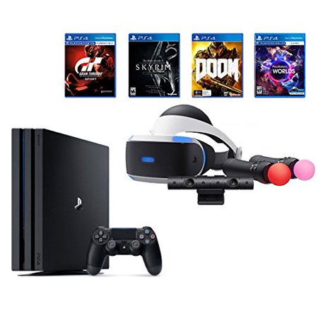 Playstation Ps4 Pro Bundle  6 Items   Vr Starter Bundle  Ps4 Pro 1Tb Console  Jet Black  4 Game Discs  Gran Turismo Sport  Skyrim  Doom  And Vr Worlds