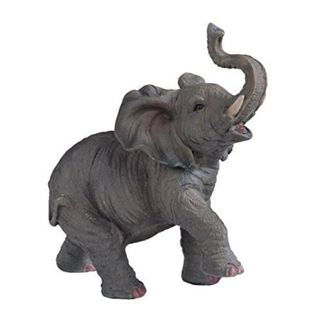Polyresin Elephant (SS-G-54135 Small Polyresin Elephant With Trunk Up Figurine Statue, 6.5