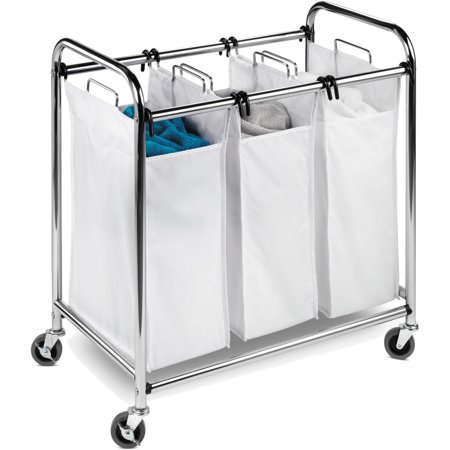 - Honey Can Do Commercial-Grade Triple Laundry Sorter, Chrome/White