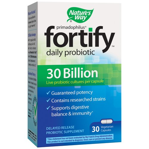 Nature's Way Fortify Daily Probiotic Delayed Release Probiotic Supplement Vegetarian Capsules, 30 count