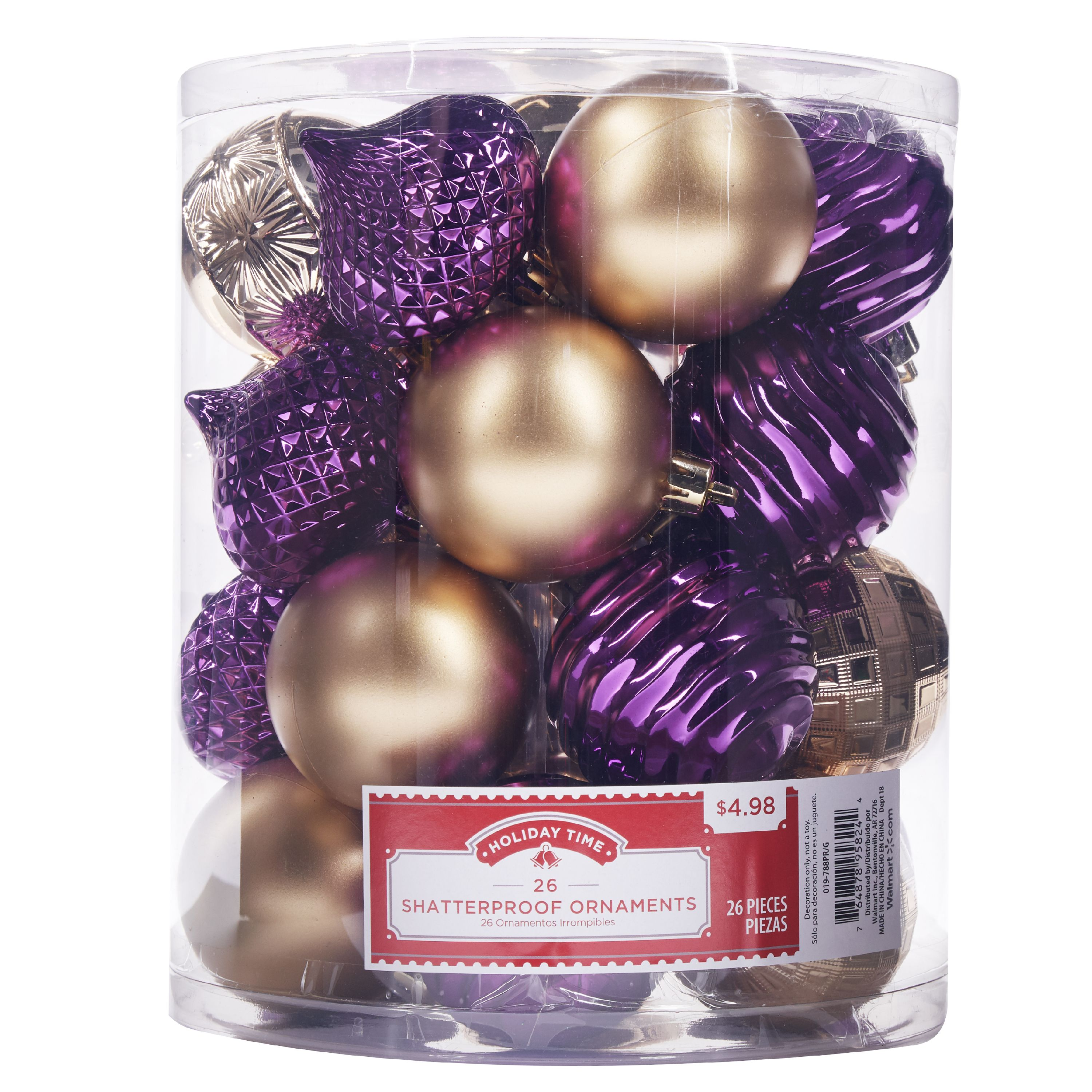 Holiday Time Shatterproof Ornaments, Purple & Gold, 26 Count