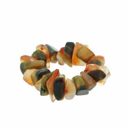 Carnelian and Tiger Eye Chip Stretch Ring - Eye Rings