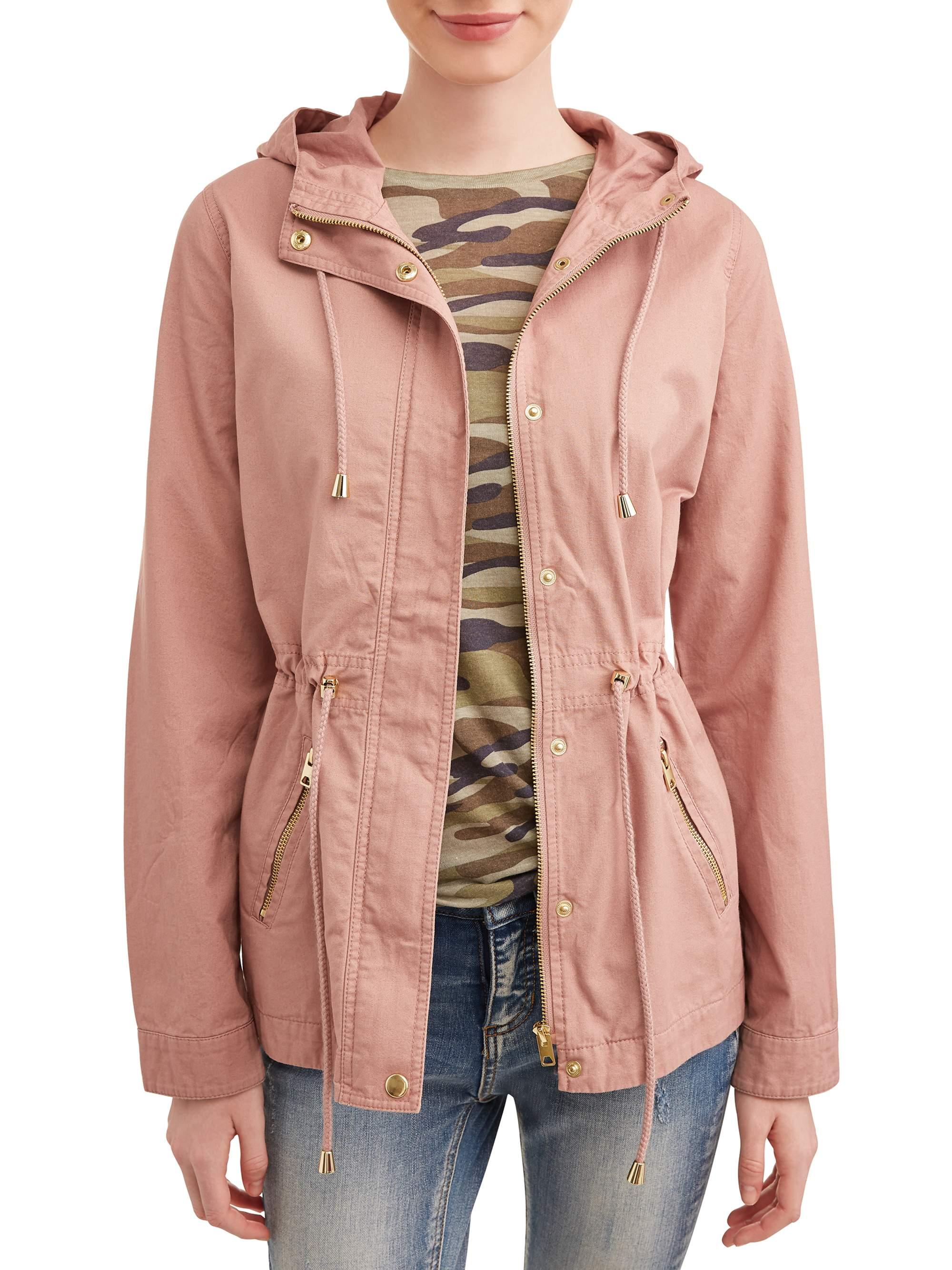 Juniors Zip Up Pocket Front Hooded Anorak Jacket