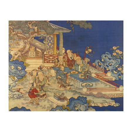 Detail from a Chinese Kesi Coloured Silk Panel Depicting Daoist Immortals Print Wall Art