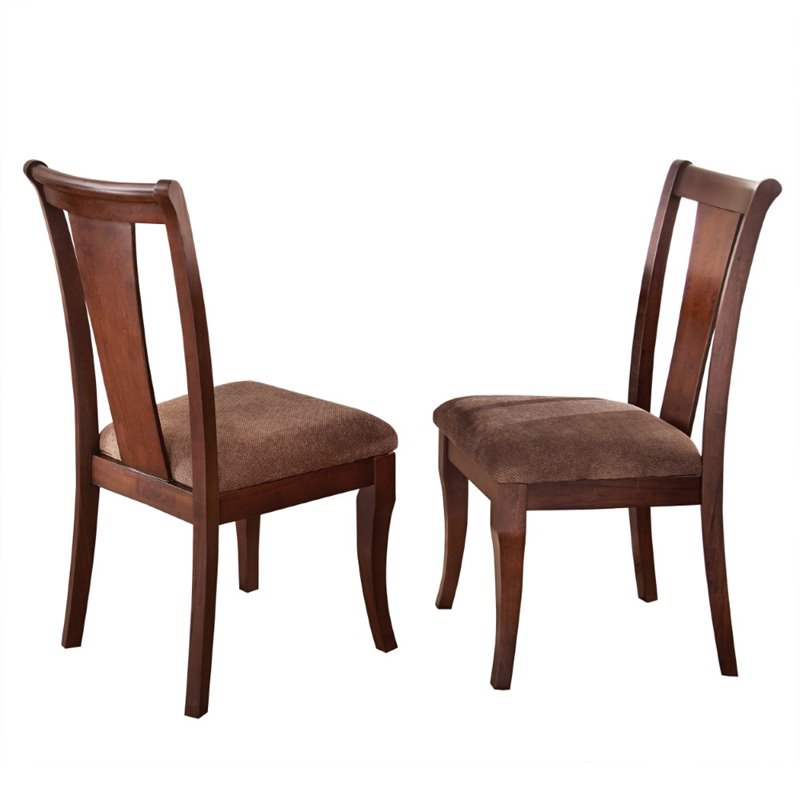 Steve Silver Aubrey Dining Chair in Medium Brown Cherry (set of 2)