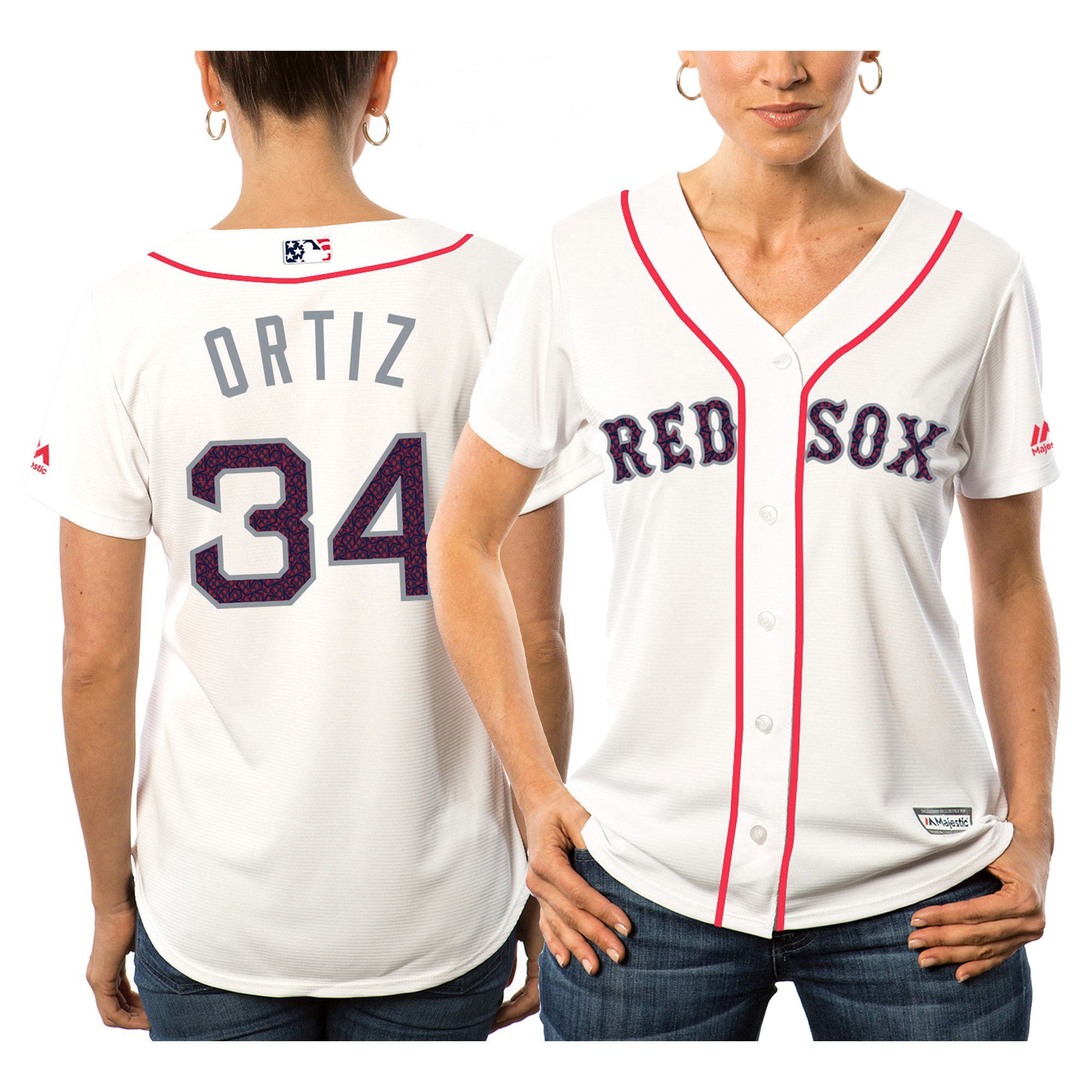 Women's Majestic David Ortiz White Boston Red Sox Fashion Stars & Stripes Cool Base Player Jersey