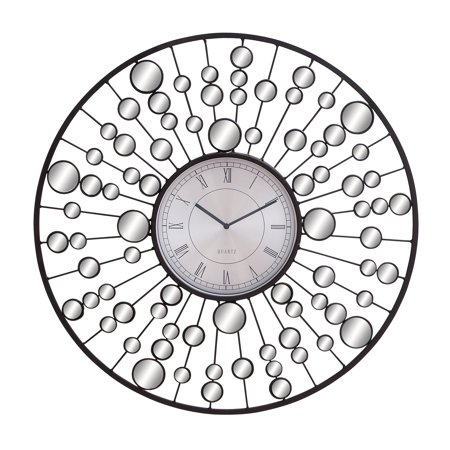 Decmode Contemporary 26 Inch Molecular Metal and Mirror Wall Clock