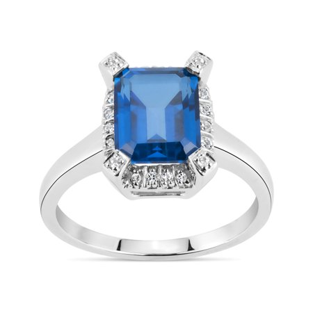 54a55f318 ONLINE - Emerald Cut Kashmir Blue Topaz and Round White Topaz Swarovski  Genuine Gemstone Swarovski Sterling Silver Rhodium Plated Ring - Walmart.com