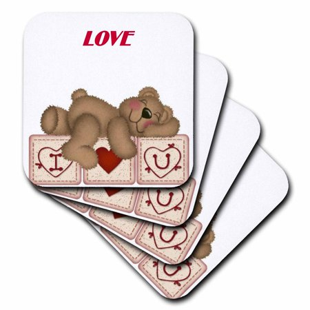 3Drose Adorable Teddy Bear On I Luv U Blocks  Ceramic Tile Coasters  Set Of 4