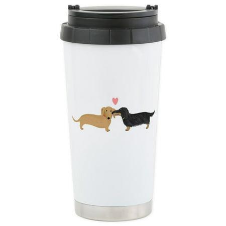 CafePress - Dachshund Smooch Stainless Steel Travel Mug - Stainless Steel Travel Mug, Insulated 16 oz. Coffee Tumbler