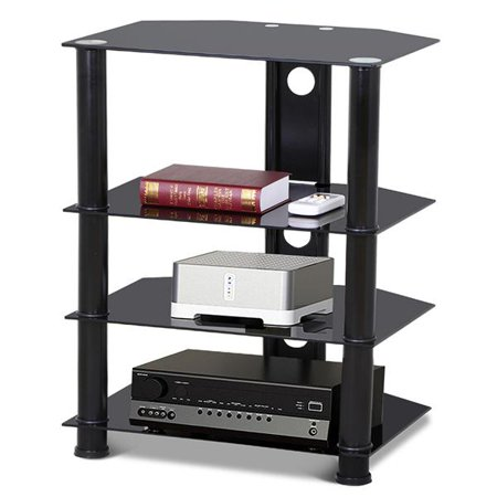 Yaheetech 4-Tier Black Glass Media Component Stand Audio Rack with Cable Management Audio Rack Storage Set