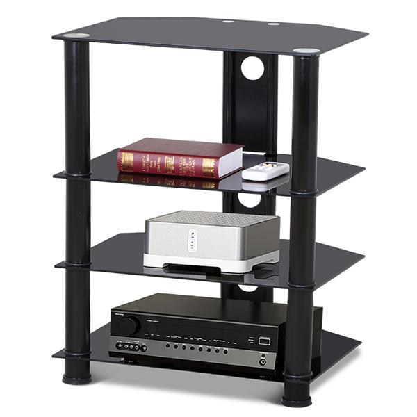 Yaheetech 4-Tier Black Glass Media Component Stand Audio Rack with Cable Management