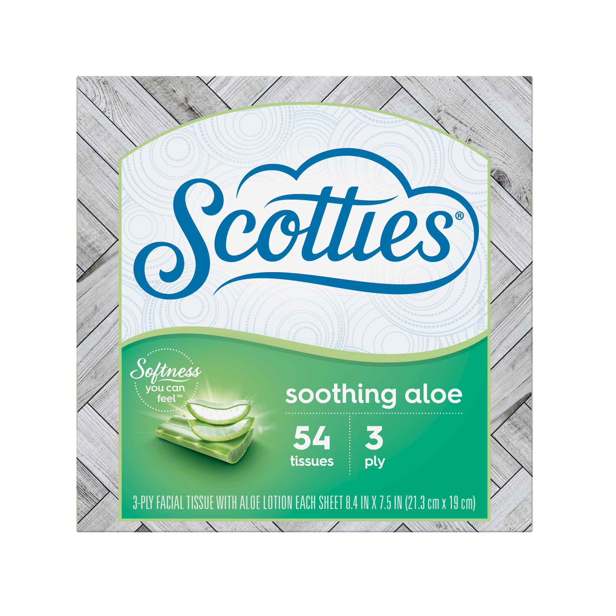 Scotties Soothing Aloe 3-Ply Facial Tissues for Sensitive Skin, 1 Pull-out Style Box, 54 Tissues per Box