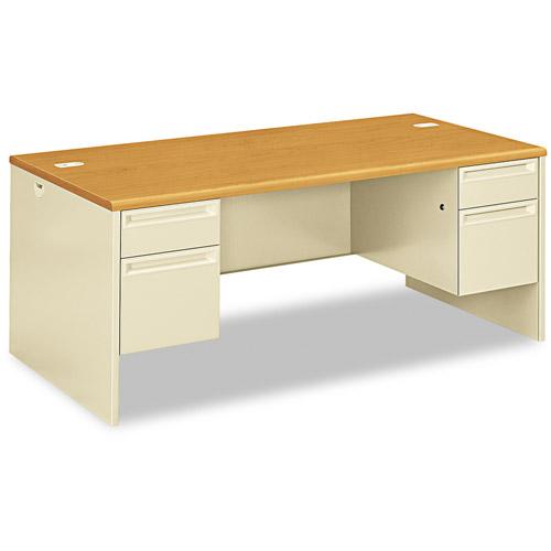Hon 38000 Series Double Pedestal Desk, Harvest/Putty