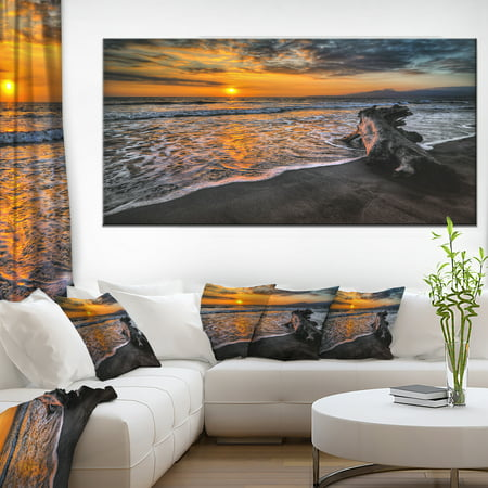 Log on Beach During Sunset - Seashore Canvas Art Print - image 4 de 4