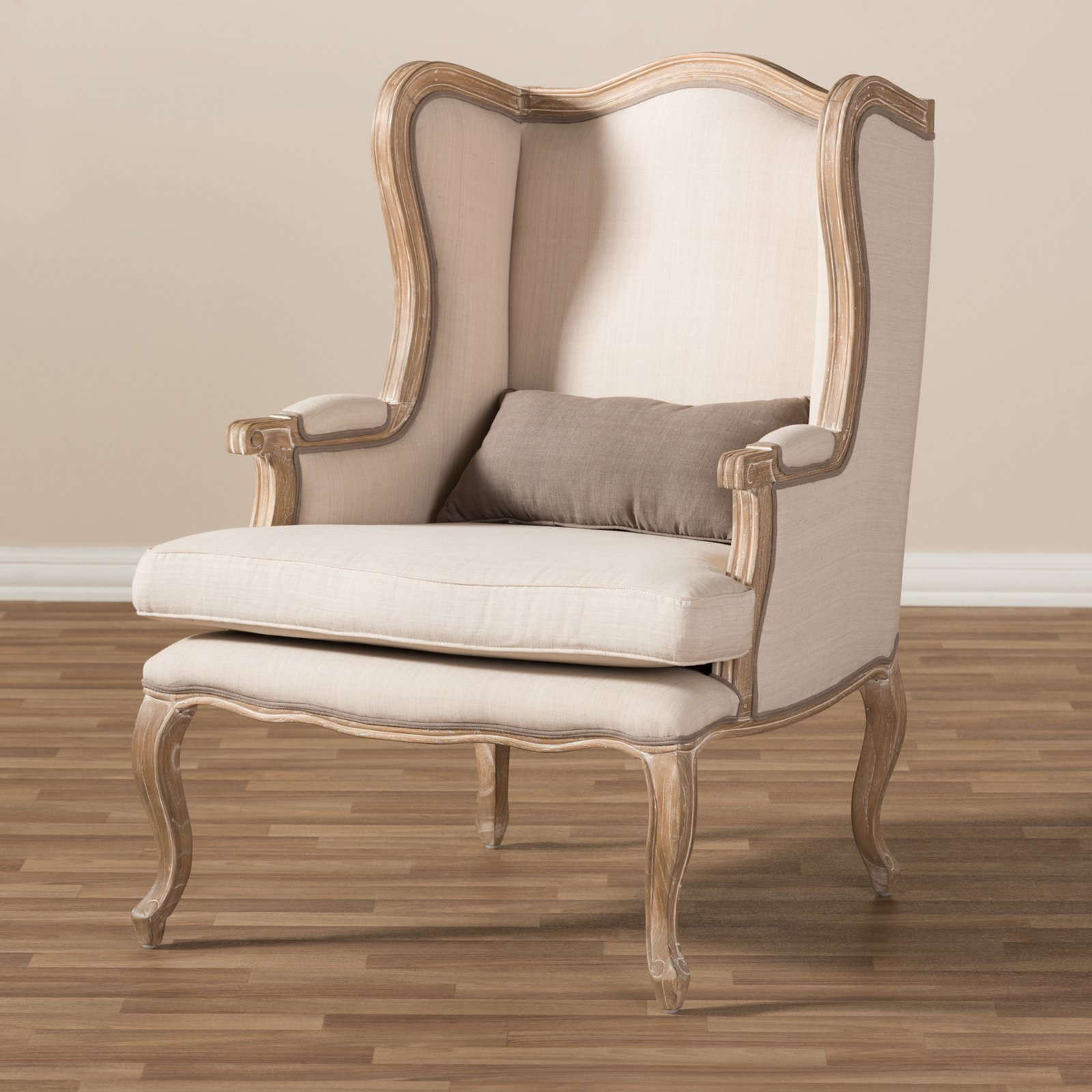 Auvergne Wood Traditional French Accent Chair