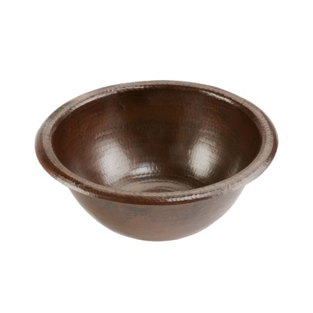 Premier Copper Products LR14RDB Small Round Self Rimming Hammered Copper Sink ()