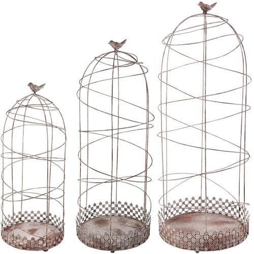 EsschertDesign 3 Piece Aged Metal Decorative Bird Cage Set