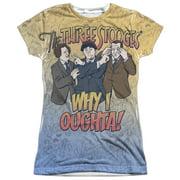 Three Stooges - Why I Oughta - Juniors Cap Sleeve Shirt - X-Large