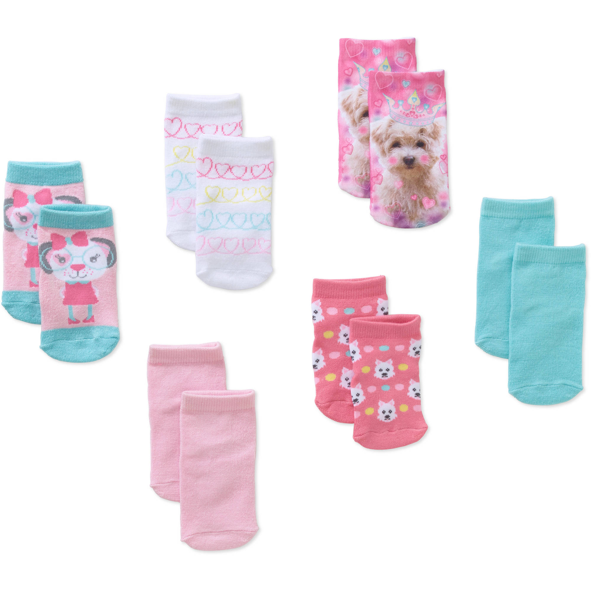 Garanimals Newborn to Toddler Baby Girl Shorty Dog Print Socks, 6-Pack Ages 0-5T