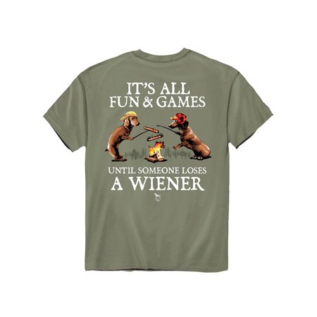 Fun and Games Olive-Colored Funny Novelty T-Shirt - Clever Gift Idea for Dog Lovers
