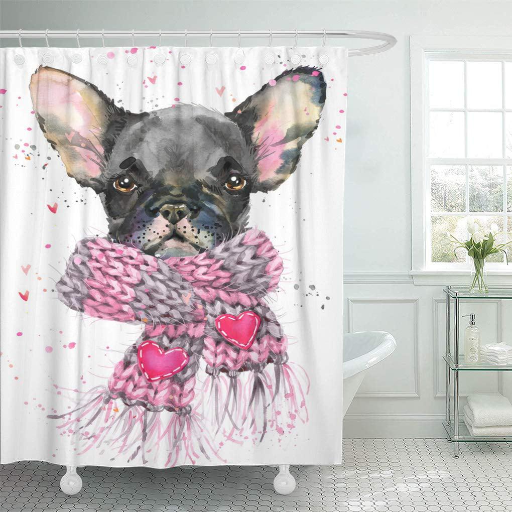 YUSDECOR Drawing White French Bulldog Watercolor Cute Puppy Dog Bathroom  Decor Bath Shower Curtain 10x10 inch