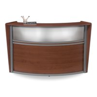 OFM Marque Series Model 55310 Single Unit Plexi Reception Desk Station, Cherry with Silver Frame