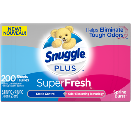 Snuggle Plus SuperFresh Fabric Softener Dryer Sheets with Static Control and Odor Eliminating Technology, Spring Burst, 200 Count Dryer Sheet Coupons