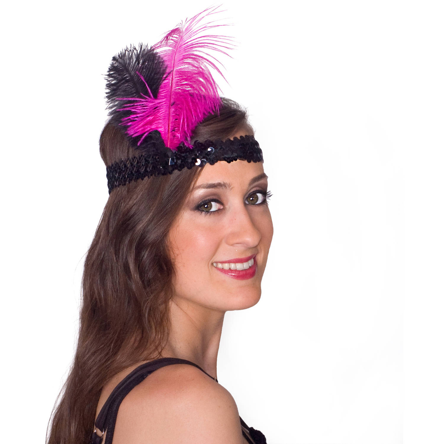 Sunnywood Pink and Black Flapper Headpiece