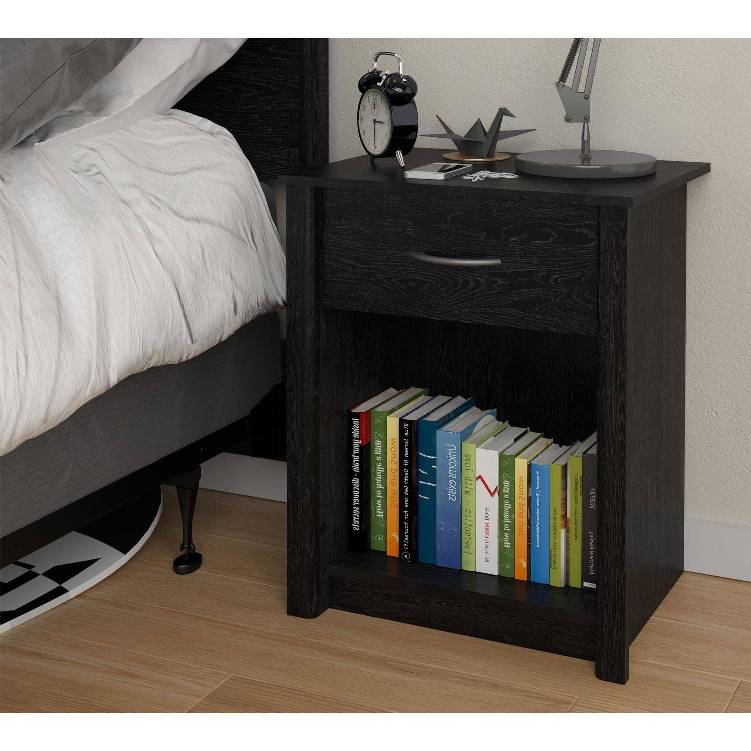 Mainstays Transitional Nightstand, Black Ebony Ash