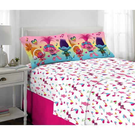 Trolls Love the Beat Kids Bedding Sheet Set, 4-Piece FULL