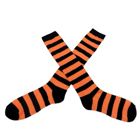 My Halloween Womens Long Black & Orange Striped Knee Socks