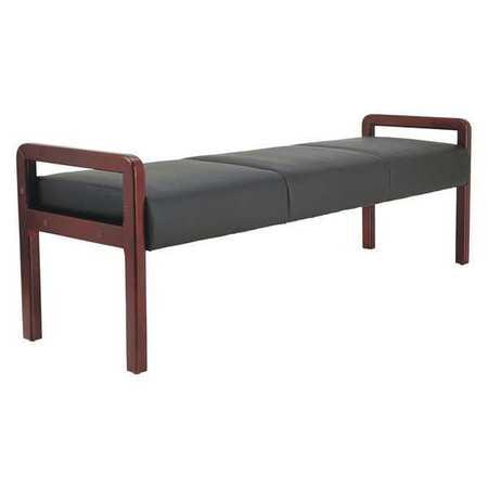 Alera Reception Lounge WL Series Bench, 65-3/4 x 22 1/4 x 22 7/8, Black/Mahogany