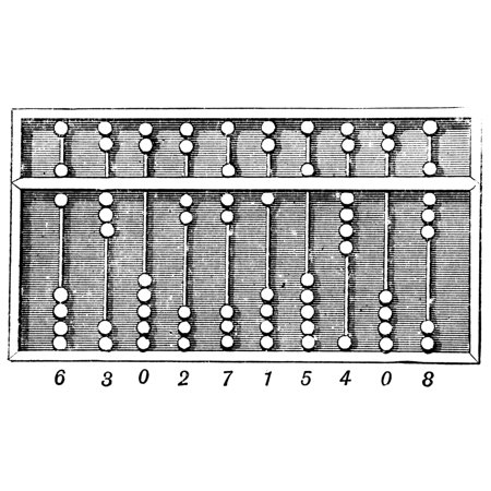 Stretched Canvas Art - Abacus. /Nancient Chinese Abacus. Line ...