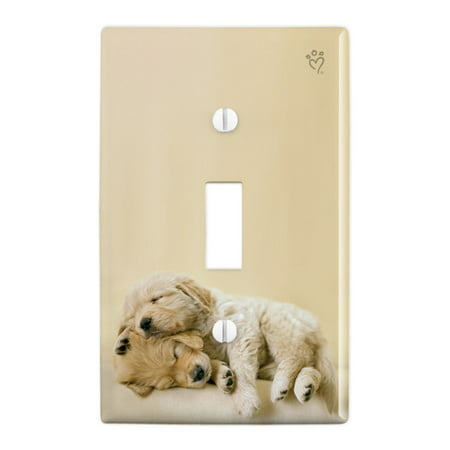 Golden Retriever Puppies Dogs Friends Sleeping Plastic Wall Decor Toggle Light Switch Plate Cover
