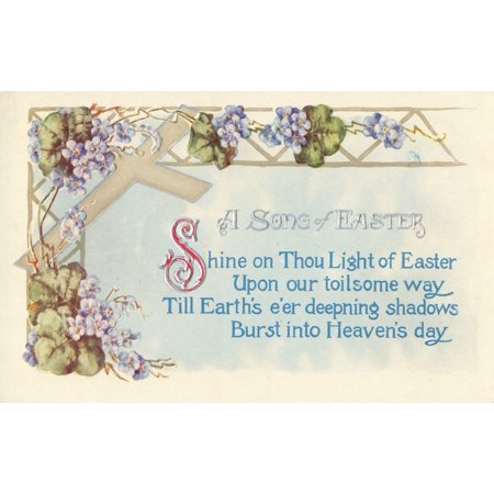 (Postcard 1911 A Song of Easter with cross & flowers Poster Print by Unknown)