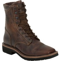 Justin Men's Rugged Tan Stampede Steel Toe Work Boots, Brown, 12