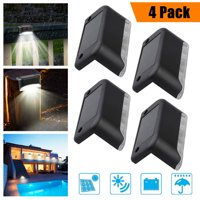 4Pack Solar Powered Deck Lights, TSV Bright LED Walkway Light Waterproof Outdoor Security Lamps, Automatic On & Off, for Patio Stairs Garden Pathway, Yard and Driveway Path, Warm White