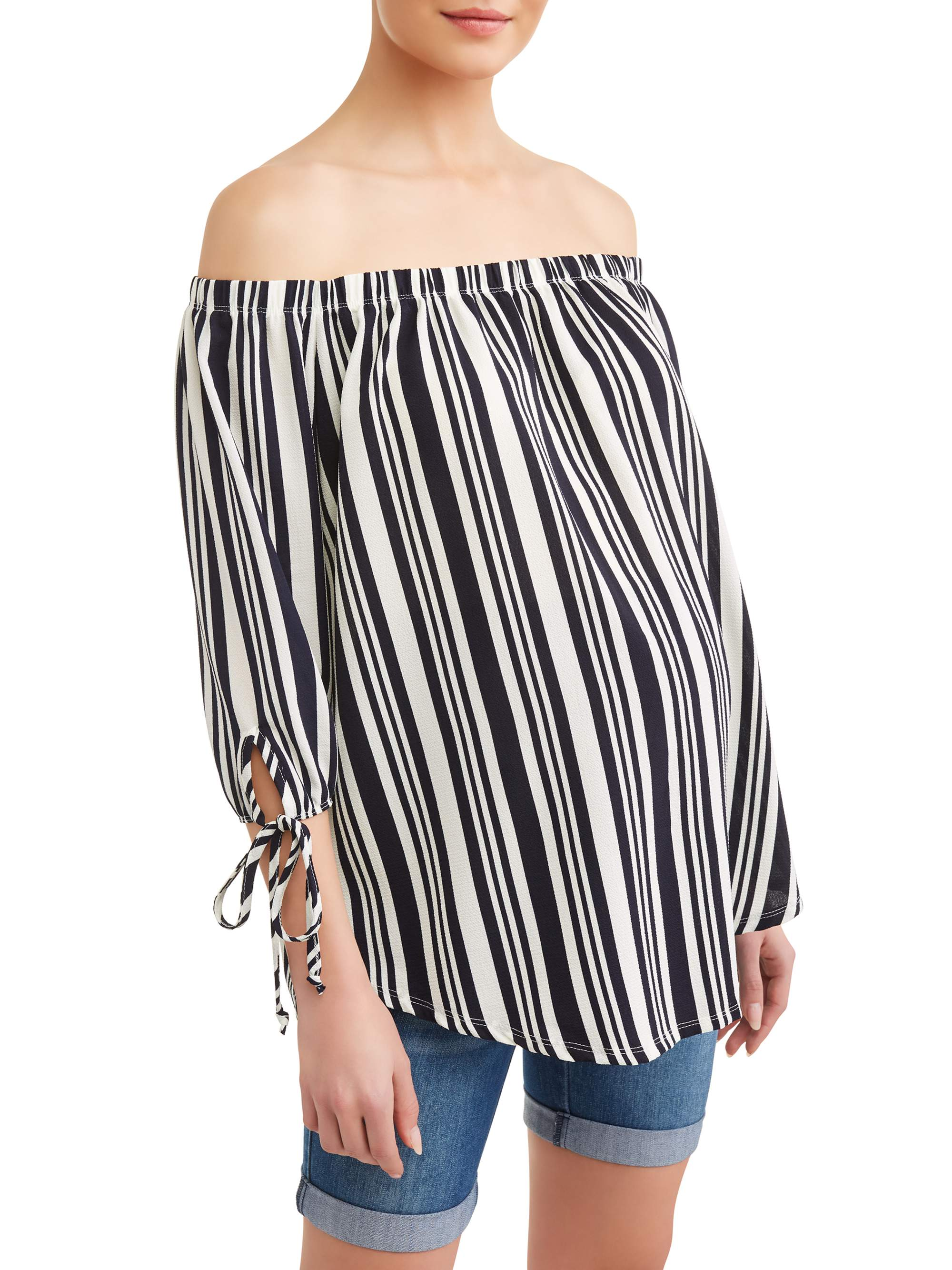 Maternity Off the Shoulder Striped Top