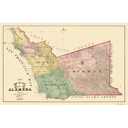 Old County Map   Alameda California Landowner   1878   35 69 X 23