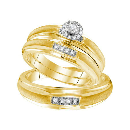 Yellow-tone Sterling Silver His & Hers Round Diamond Solitaire Matching Bridal Wedding Ring Band Set 1/6 Cttw - image 1 of 1