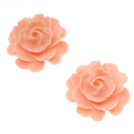 Lucite Flower Cabochons Blooming Rose Matte Light Peach 23mm (2)