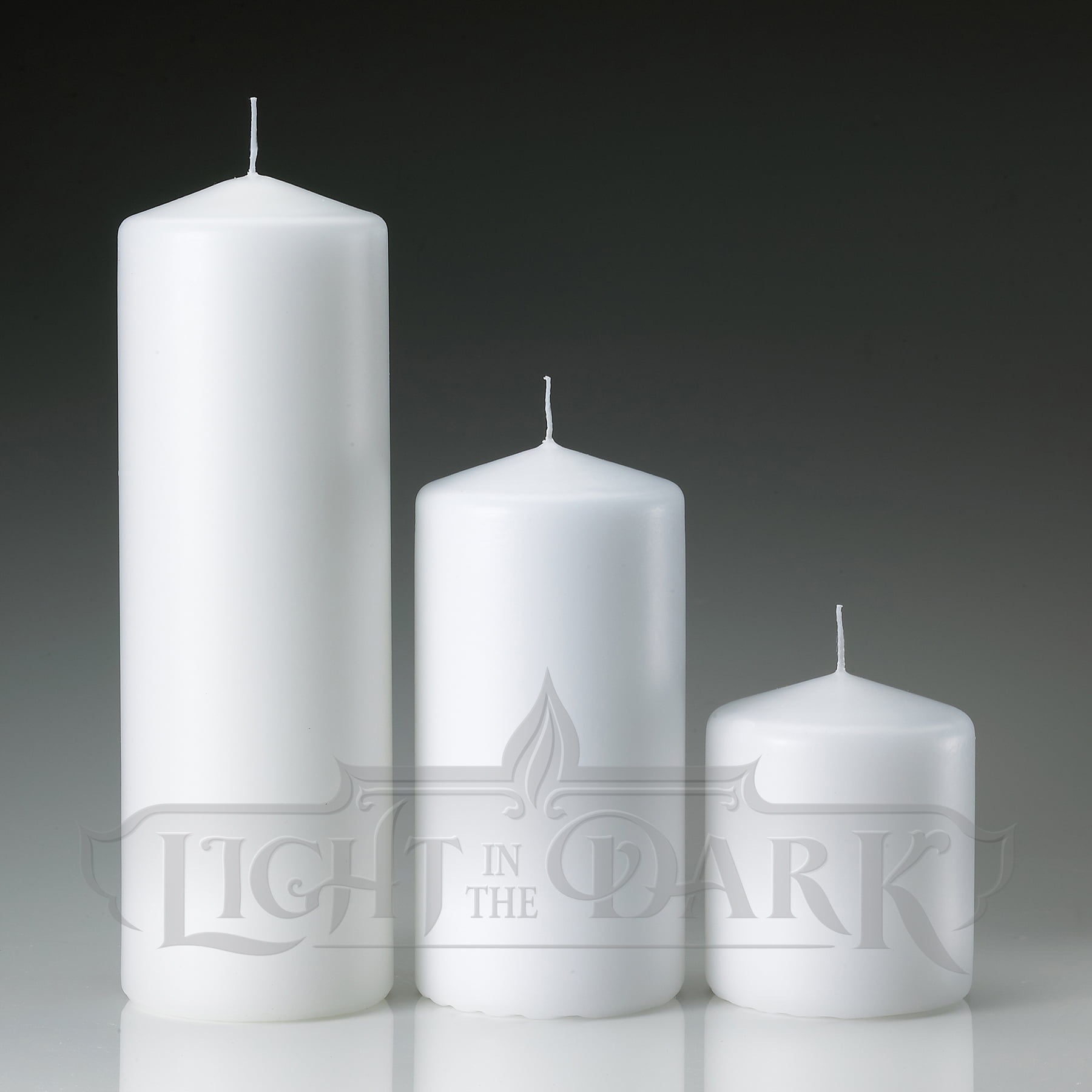 "White Pillar Candles Set Of 3, 3x3"" 3x6"" 3x9"" by"