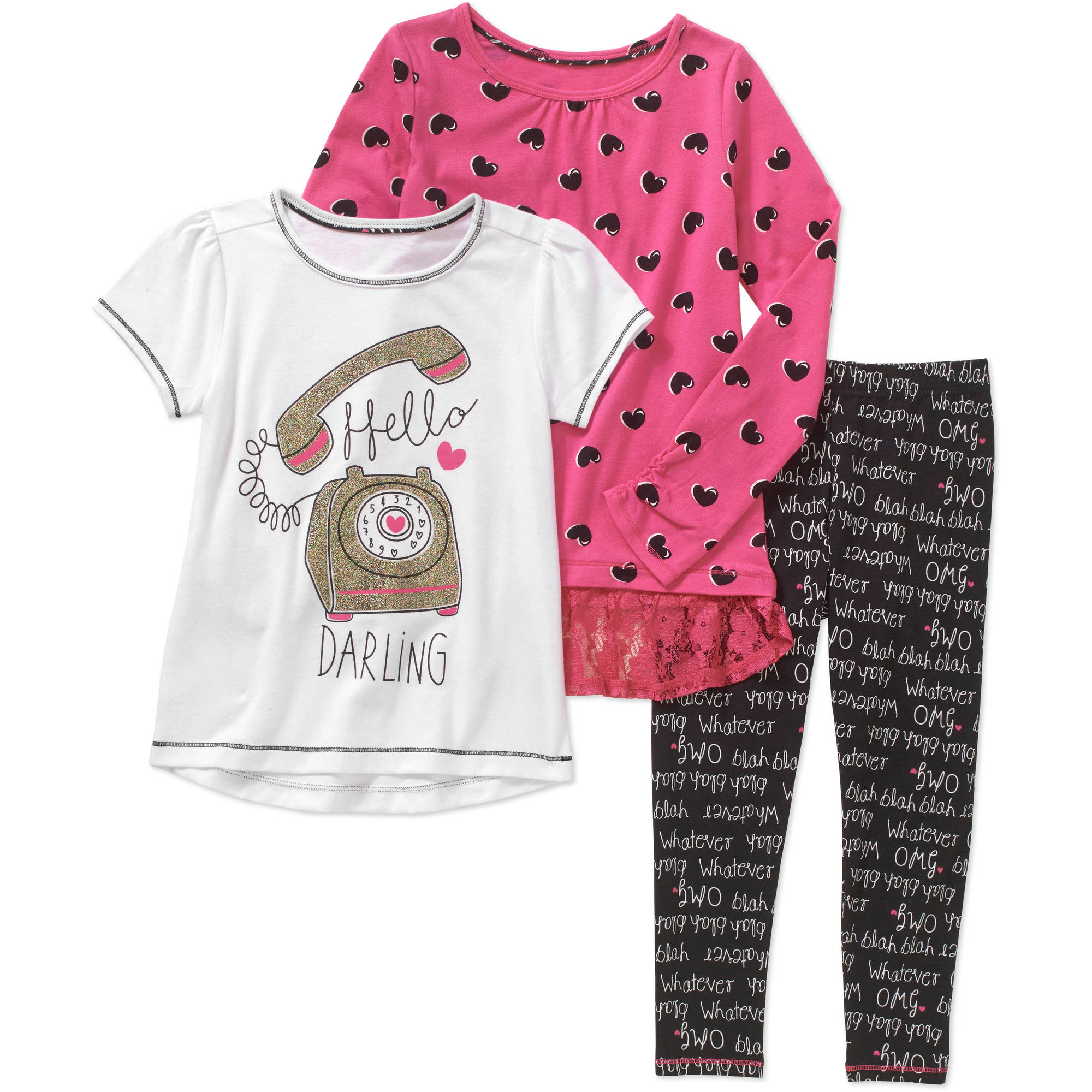 Healthex Girls' 3 Piece Set with Short Sleeve Top, Long Sleeve Top, and Leggings