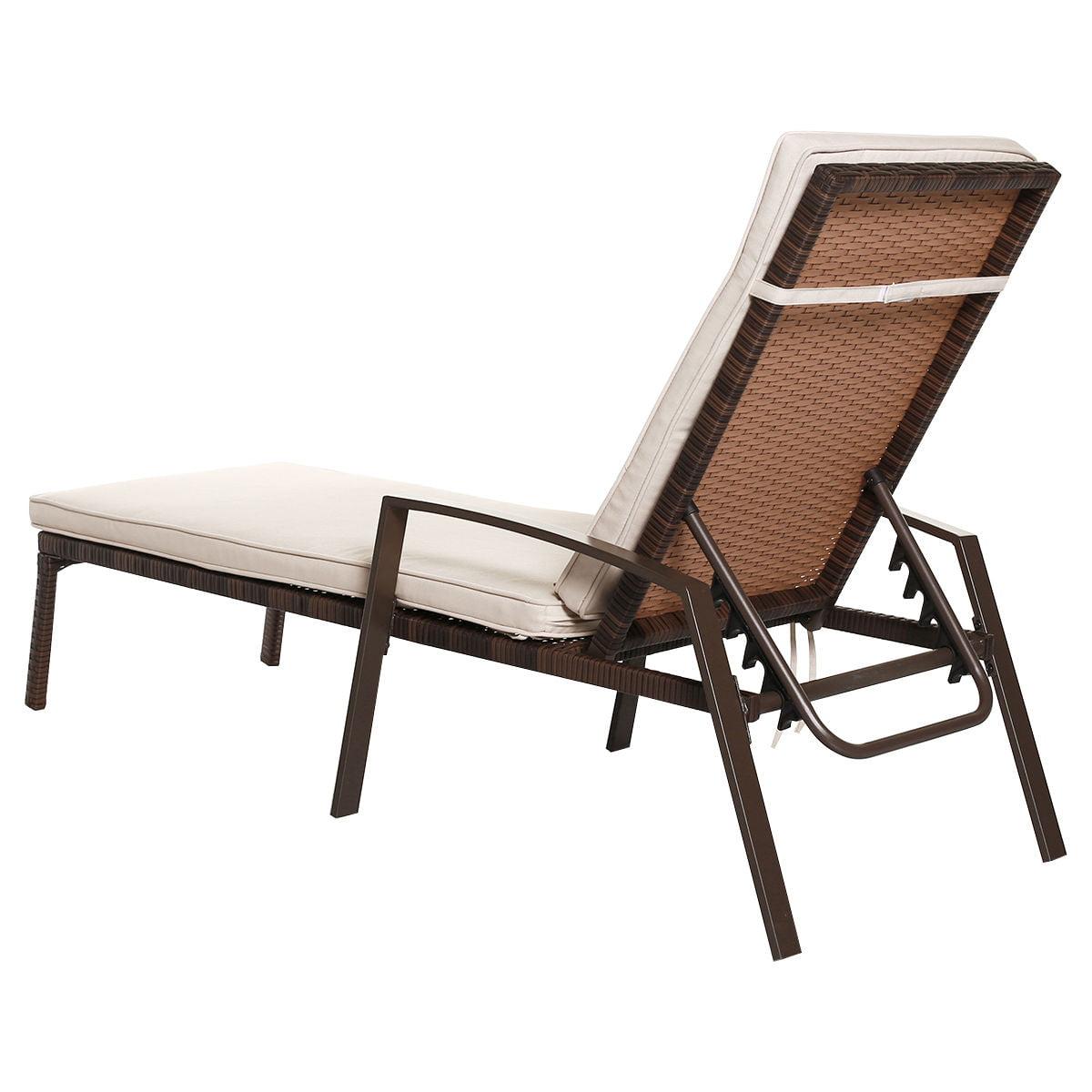 2pcs Patio Rattan Lounge Chair Garden Furniture Adjustable Back W/ Cushion - image 8 of 10