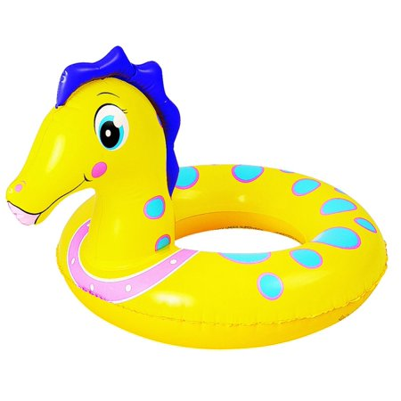 - Yellow and Blue Seahorse Children's Inflatable Swimming Pool Inner Tube Ring, 24-Inches