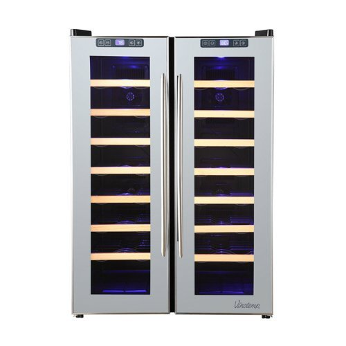 Vintotemp VT-48TSSM-2Z 48-Bottle Dual-Zone Thermoelectric Mirrored Wine Cooler