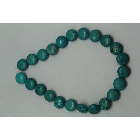 18mm Aqua Turquoise Coin Bead Strand With Rusty Matrix (23 (Multi Strand Coin)